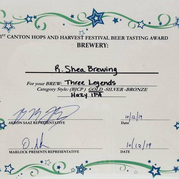 Three Legends Award from Canton Hops and Harvest Festival